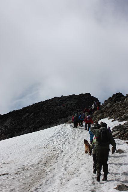 Vi vandrar på rad upp mot toppen